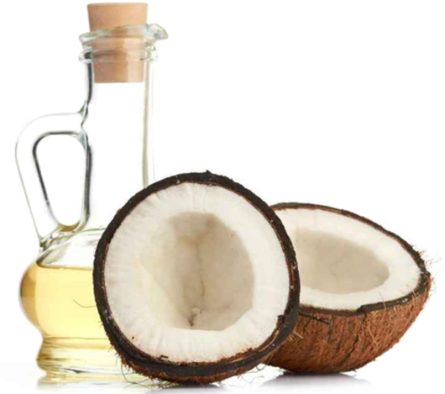 1429060458 coconut oil in a bottle with one sliced coconut next to it