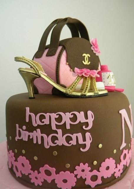 1429766436 handbag and shoe theme brown birthday cake
