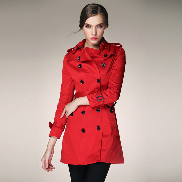 1431515626 new arrival 2014 autumn autumn classic double breasted high quality women s font b red b