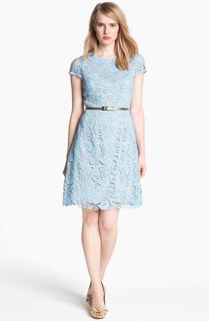 1431596539 pastel lace bridesmaid blue dresses with short length