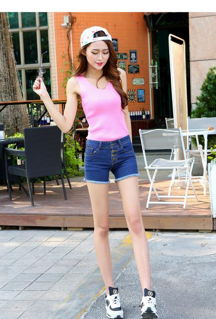 1431838413 2015 fashion women s jeans shorts summer high waist stretch denim short feminino slim korean casual