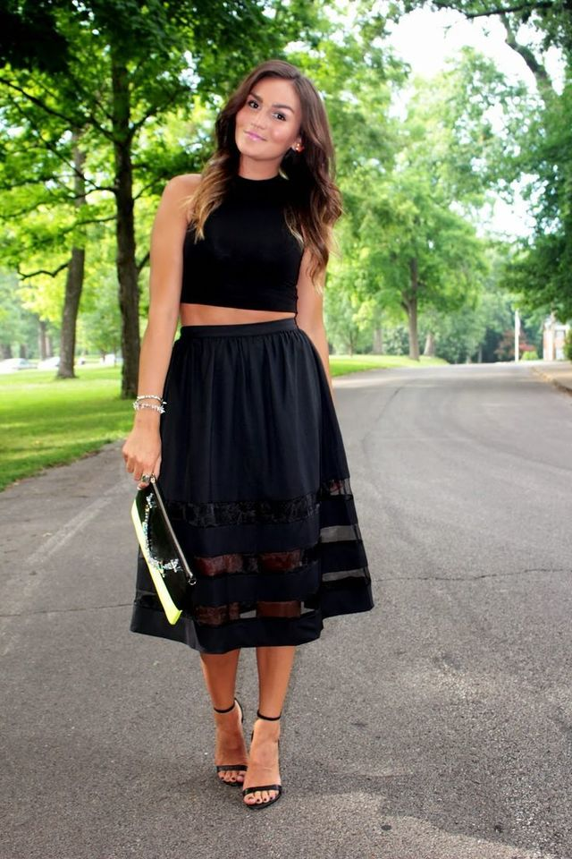 1433736764 crop top and sheer panel midi skirt