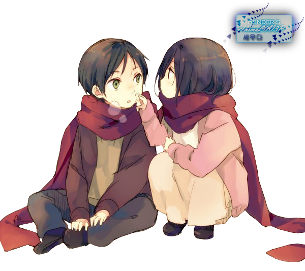 1433928553 eren and mikasa  shingeki no kyojin  render by ani07 d66696v