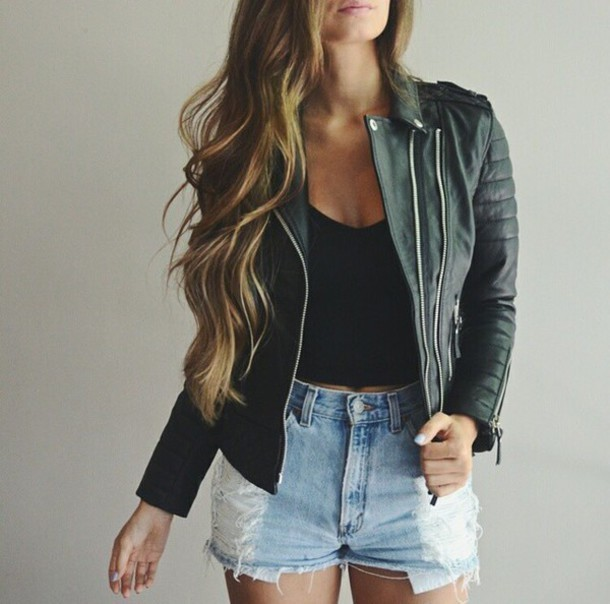 1434017289 r3vj92 l 610x610 jacket leather%2bjacket perfecto black%2bperfecto black%2bjacket black%2bleather%2bjacket crop%2btops black%2bcrop shorts high%2bwaisted%2bshorts denim%2bshorts ripped%2bshorts denim torn%2bjean